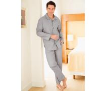 Herren Schlafanzug Pyjama, Baumwolle, in 2 Farben blau