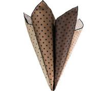 Herren Accessoires Einstecktuch, Seide, taupe-schwarz gepunktet beige