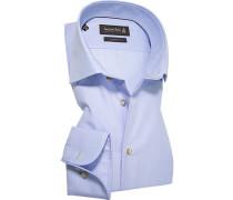 Herren Hemd Custom Fit Popeline Extra langer Arm bleu-weiß gestreift blau