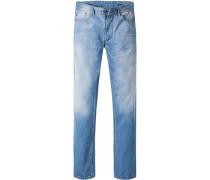 Herren Jeans Shaped Fit Baumwolle jeansblau