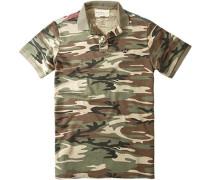 Herren Polo-Shirt Applikation im Rückteil Baumwoll-Piqué camouflage grün