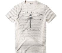 Herren T-Shirt, Slim Fit, sand-schwarz gestreift beige