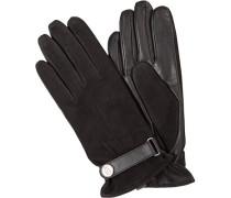 Herren Handschuhe, Velours-Glattleder, schwarz