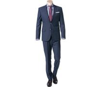 Herren Anzug Slim Fit Schurwolle Super120 GUABELLO blau gemustert