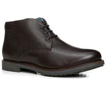 Herren Schuhe Stiefelette, Leder warm gefüttert, dunkelbraun