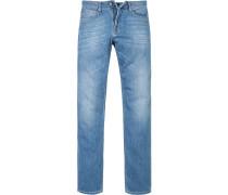 Herren Jeans, Regular Cut, Baumwoll-Stretch, denim blau
