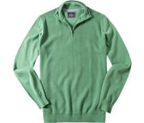 Herren Pullover Troyer Baumwolle grün