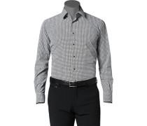 Herren Hemd Slim Fit Popeline schwarz-weiß gemustert grau