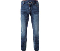 Herren Jeans, Straight Fit, Baumwoll-Stretch, denim blau