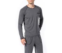 Herren Schlafanzug Longsleeve Baumwolle grau meliert