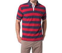 Herren Polo-Shirt Baumwoll-Piqué robinrot-dunkelblau gestreift