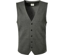 Pullover Strickweste Body Fit Schurwolle grau