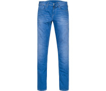 Herren Jeans, Slim Fit, Baumwoll-Stretch, blau