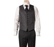 Herren Anzug Weste Slim Line Seidenimitat grau gemustert