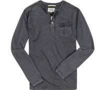 Herren T-Shirt Longsleeve Baumwoll-Jersey dunkel meliert