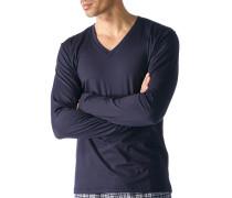 Herren Schlafanzug Longsleeve, Baumwolle, nachtblau