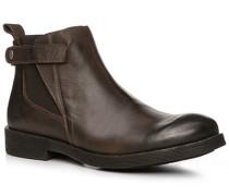 Herren Schuhe Chelsea-Boots Leder dunkelbraun braun,blau