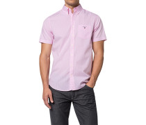 Herren Hemd Regular Fit Popeline rosa-weiß gestreift