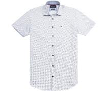Herren Hemd Modern Fit Popeline weiß gemustert