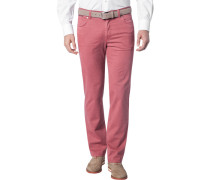 Herren Jeans, Contemporary Fit, Baumwoll-Stretch, granat meliert rot