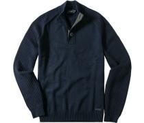 Herren Pullover Troyer Baumwoll-Mix navy blau