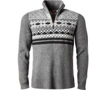 Herren Pullover Troyer, Microfaser-Schurwolle, grau-schwarz gemustert