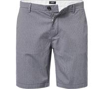 Herren Hose Bermudashorts, Slim Fit, Baumwolle, grau gemustert