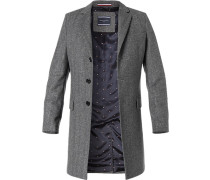 Herren Mantel Wolle grau gemustert