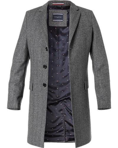 Herren Mantel, Wolle, grau gemustert