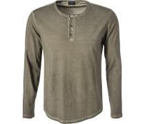 Herren T-Shirt Longsleeve, Baumwolle, olivgrün