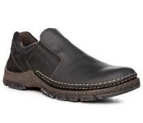 Herren Schuhe Slipper, Leder, black schwarz