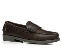Herren Schuhe Slipper Leder dunkelbraun