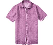 Herren Hemd Modern Fit Leinen violett
