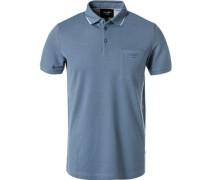Herren Polo-Shirt, Modern Fit, Baumwoll-Piqué, rauchblau