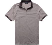 Herren Zip-Shirt Baumwoll-Jersey beige-dunkel gemustert