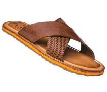 Herren Schuhe Sandalen, Leder, cognac braun