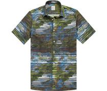 Herren Hemd, Modern Fit, Baumwolle, grün gemustert
