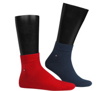 Sneakersocken Baumwolle navy-rot
