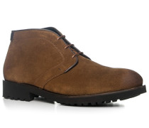 Herren Schuhe Schnürstiefeletten, Veloursleder, zimtbraun