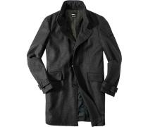 Herren strellson Premium Mantel Plantamo Woll-Mix mit Kaschmir wattiert anthrazit gestreift
