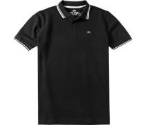 Herren Polo-Shirt Baumwoll-Piqué schwarz-weiß