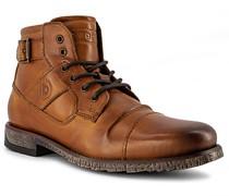 Schuhe Schnürstiefeletten Leder cognac