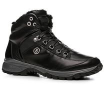 Herren Schuhe Stiefelette Leder warm gefüttert schwarz