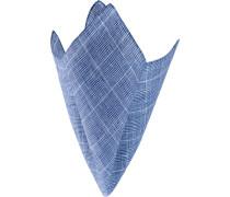 Herren Accessoires Einstecktuch Leinen blau kariert