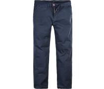 Herren Hose Regular Straight Fit Baumwolle Navy blau
