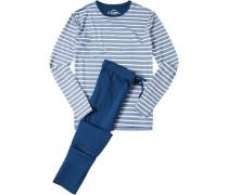Herren Schlafanzug Pyjama Baumwolle marineblau-weiß gestreift