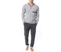 Herren Schlafanzug Pyjama, Baumwolle, grau meliert