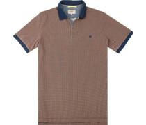 Herren Polo-Shirt, Baumwolle, orange-blau meliert