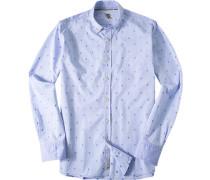 Herren Hemd Strukturgewebe hellblau gemustert