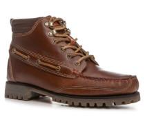 Herren Schuhe Schnürstiefeletten Glattleder